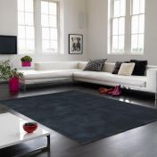 Aran Midnight Plain Wool Luxury Rug By Asiatic