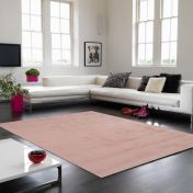 Aran Rose Pink Plain Luxury Wool Rug By Asiatic