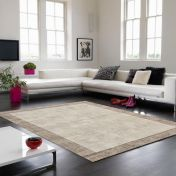 Blade Border Putty Smoke Rug By Asiatic