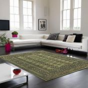 Bokhara Green Traditional Wool Runner by Asiatic