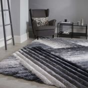 Verge Lattice Grey Silver Abstract Shaggy Rug by Flair Rugs