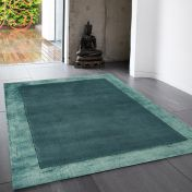 Ascot Aqua Blue Bordered Wool Rug by Asiatic