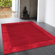 Ascot Red Bordered Wool Rug by Asiatic