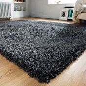 Athena Charcoal Plain Shaggy Rug by Flair Rugs