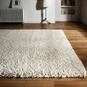 Athena Ivory Plain Shaggy Rug by Flair Rugs