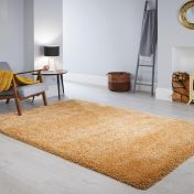 Athena Ochre Plain Shaggy Rug by Flair Rugs