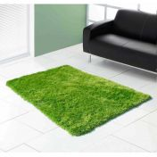 Boston Lime Plain Shaggy Rug by Ultimate Rug