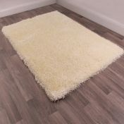 Boston Cream Plain Shaggy Rug by Ultimate Rug
