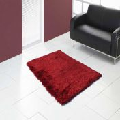 Boston Red Plain Shaggy Rug by Ultimate Rug