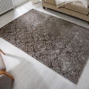 Barada Damascus Grey Floral Rug by Flair Rugs