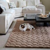 Basketweave 3D Blush Wool Rug by Origins