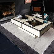 Blade Border Silver Charcoal Rug By Asiatic