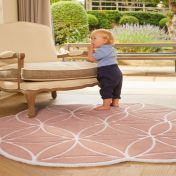 Bloom Blush Abstract Wool Circle Rug by Origins