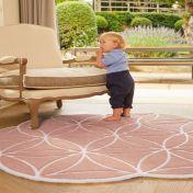 Bloom Blush Abstract Wool Circle Rug by Origins
