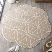 Bloom Grey Abstract Wool Circle Rug by Origins