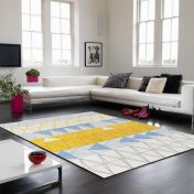 Boca BC02 Stockholm Blue Geometrical Rug by Asiatic