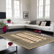 Bokhara Beige Traditional Wool Runner by Asiatic