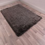 Boston Charcoal Plain Shaggy Rug by Ultimate Rug