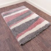 Boston Lightning Blush Striped Shaggy Rug by Ultimate Rug