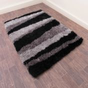 Boston Lightning Grey Striped Shaggy Rug by Ultimate Rug