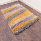 Boston Lightning Ochre Striped Shaggy Rug by Ultimate Rug