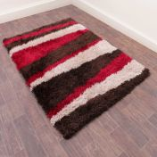 Boston Lightning Red Striped Shaggy Rug by Ultimate Rug