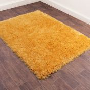 Boston Ochre Plain Shaggy Rug by Ultimate Rug
