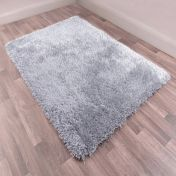 Boston Silver Plain Shaggy Rug by Ultimate Rug