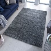 Brilliance Sparks Anthracite Plain Shaggy Rug by Flair Rugs