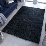 Brilliance Sparks Black Plain Shaggy Rug by Flair Rugs