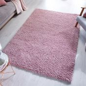 Brilliance Sparks Pink Plain Shaggy Rug by Flair Rugs