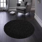 Buddy Black Washable Plain Circle Rug By Origins