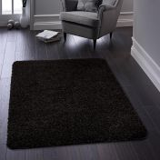 Buddy Black Washable Plain Rug By Origins
