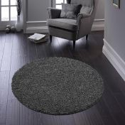 Buddy Charcoal Washable Plain Circle Rug By Origins
