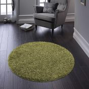 Buddy Olive Washable Plain Circle Rug By Origins