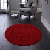 Buddy Red Washable Plain Circle Rug By Origins
