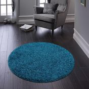 Buddy Teal Washable Plain Circle Rug By Origins