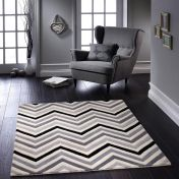 Cabone Grey Geometric Wool Rug by Origins