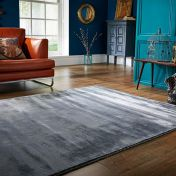 Cairo Silver Plain Modern Luxmi Rug by Flair Rugs