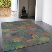 Camden Grey Multi Geometric Wool Rug by Asiatic