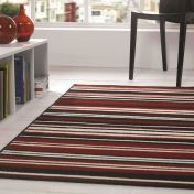 Element Prime Canterbury Red Black Striped Rug by Flair Rugs