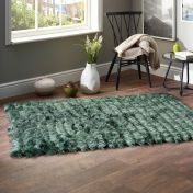 Carved Glamour Forest Green Shaggy Rug by Origins