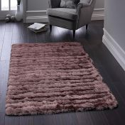 Carved Glamour Mauve Shaggy Rug By Origins