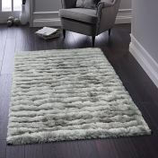 Carved Glamour Silver Shaggy Rug By Origins