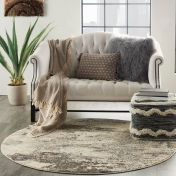 Celestial CES02 Ivory Grey Circle Rug by Nourison