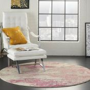 Celestial CES02 Ivory Pink Circle Rug by Nourison