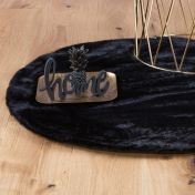 Cha Cha 535 Black Shaggy Circle Rug by Unique Rugs