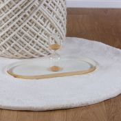 Cha Cha 535 Cream Shaggy Circle Rug by Unique Rugs