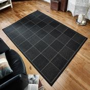 Checked Black Kitchen Rug with Antislip Gel Backing