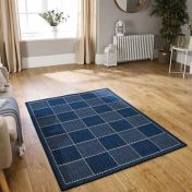 Checked Flatweave Blue Rug by Oriental Weavers